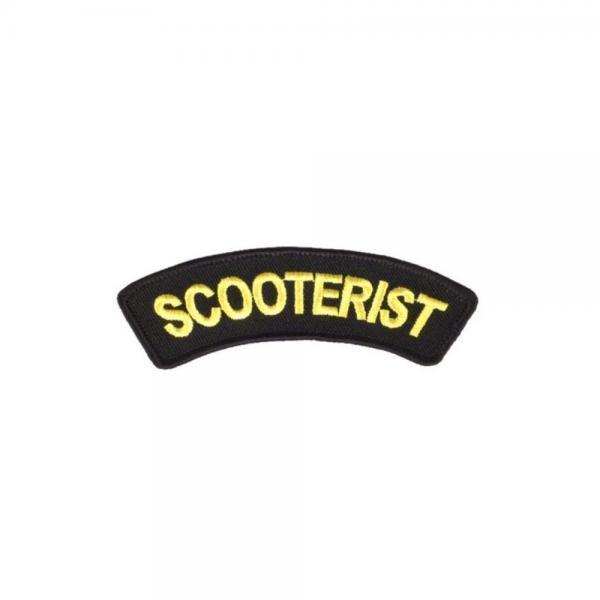 Scooterist kangasmerkki, mustalla pohjalla