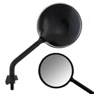 """Peili SIP """"Shorty"""", oikea/vasen, pyöreä, Ø 110 mm, kiiltävä musta, Vespa LX, LXV, S, GTS ja GTV"""