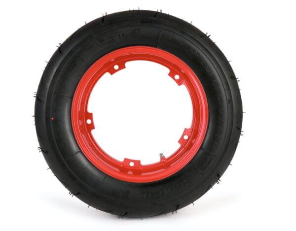 """BGM rengassetti 3.50-10"""" punaisella alumiinivanteella, Vespa"""