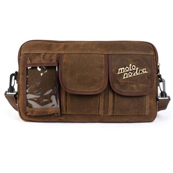 Laukku hansikaslokeron kanteen, vahattu canvas, Moto Nostra